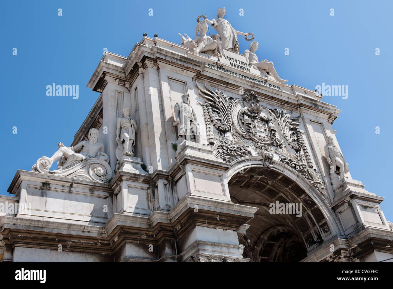 Rua Augusta Arch, Praca do Comercio, Lisbon, Portugal. - Stock Image