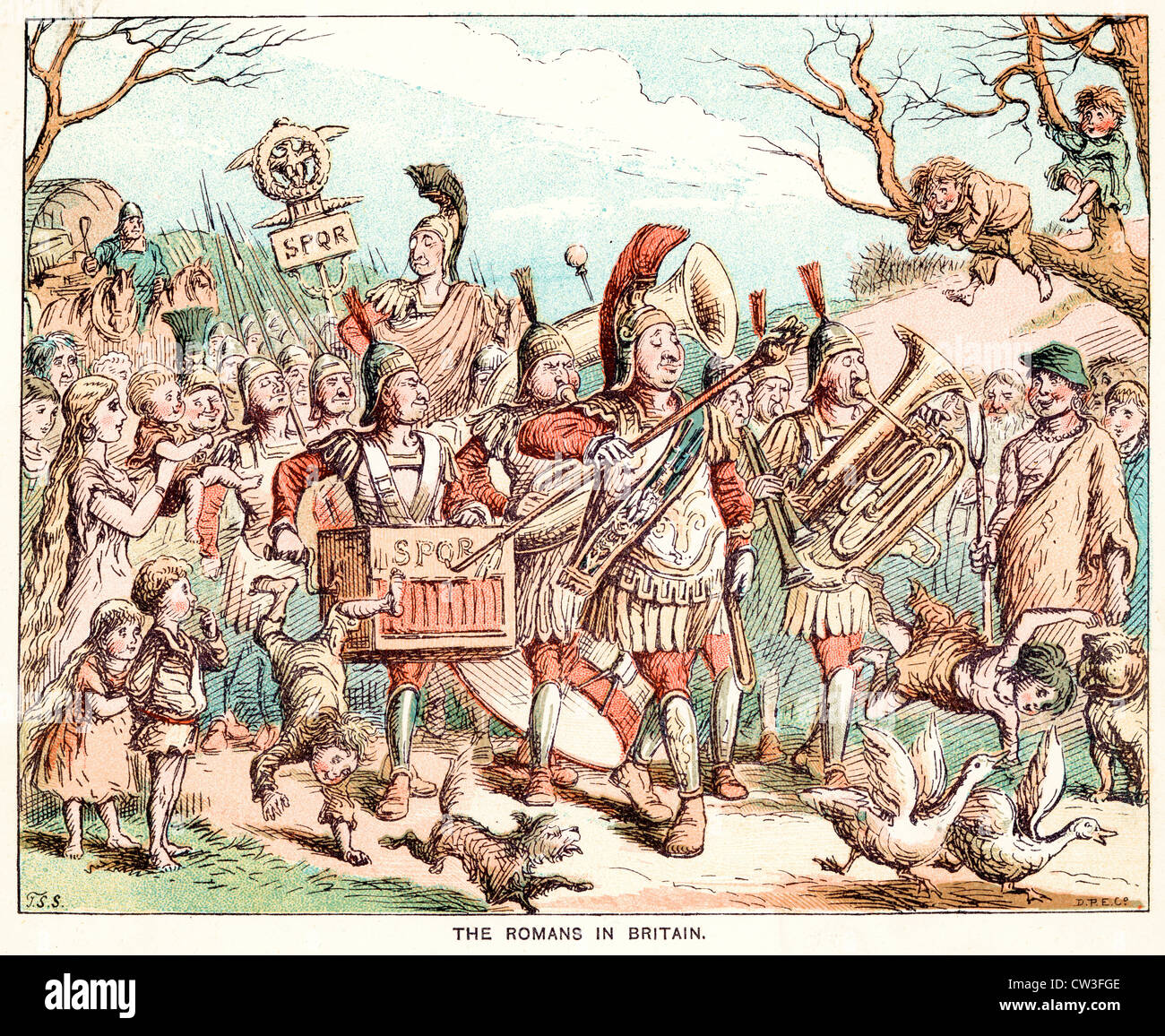 Comic Sketch by T S Seccombe showing the Romans in Britain - Stock Image