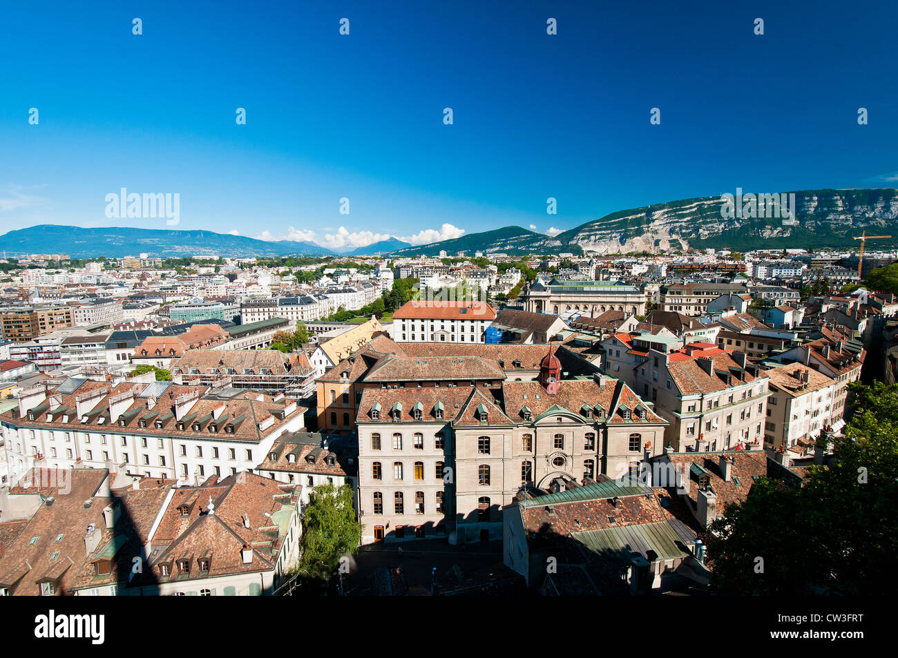 Panoramic view over city rooftops, Geneva, Switzerland - Stock Image