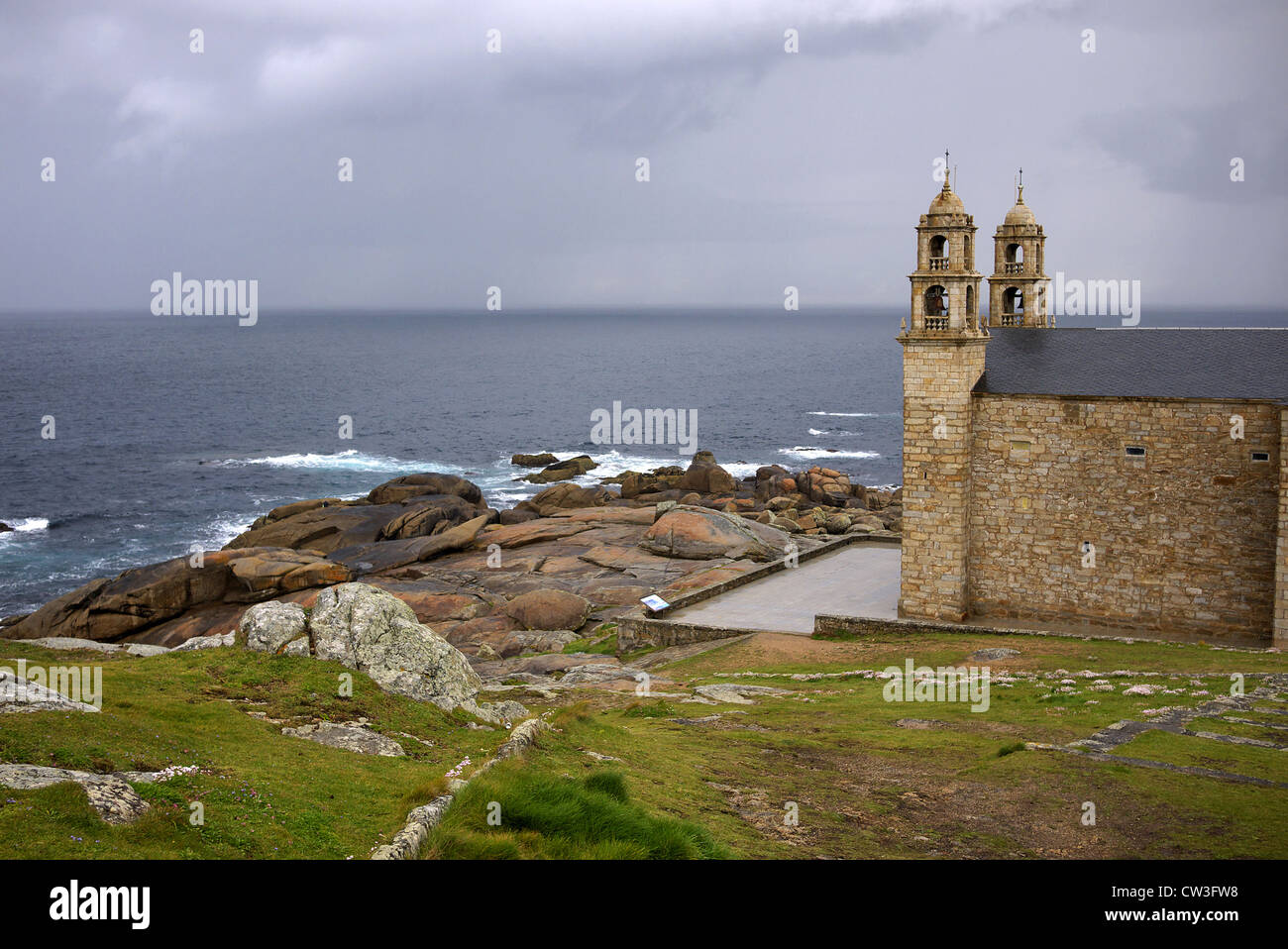 The Church of Santa Maria de Barca in Muxia, Spain. - Stock Image