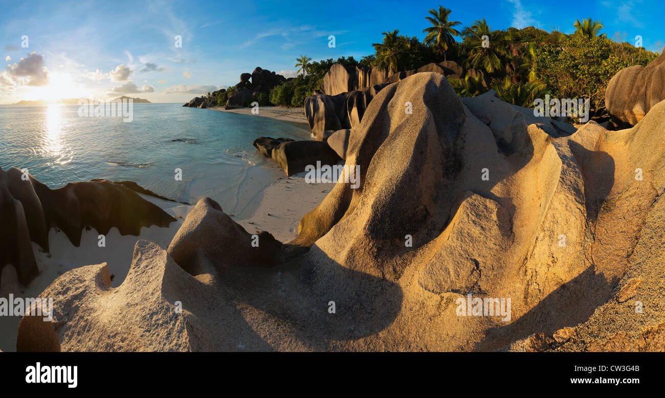 View of granite boulders and coast of La Digue island. Anse Source d' Argent beach. One of the world's most - Stock Image