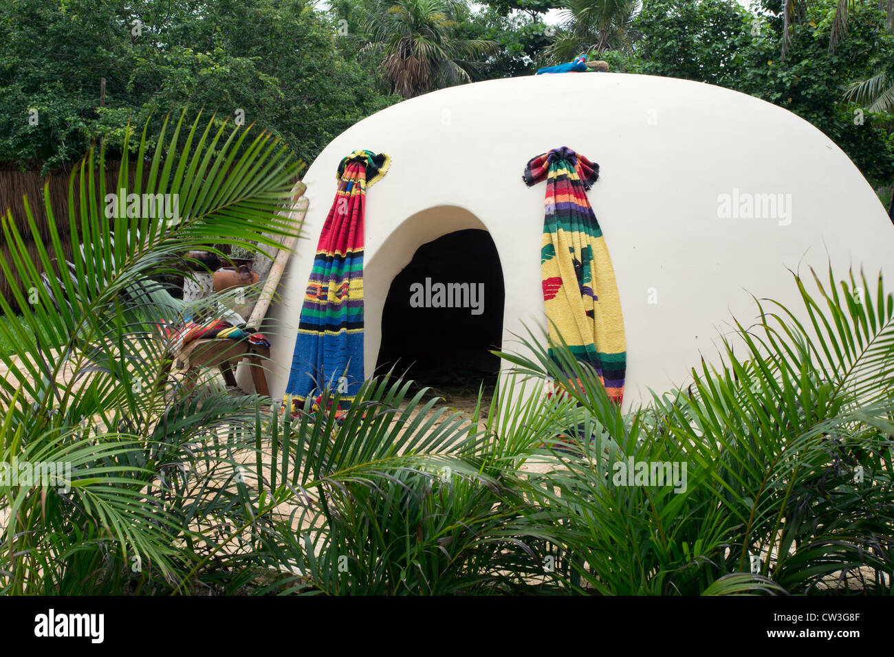 Temescal sweat lodge, an adobe style building used as a sweat lodge or sauna  for spiritual uses - Stock Image