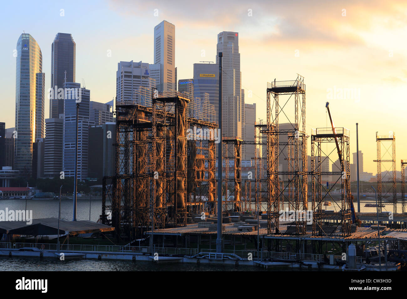 Grandstand scaffolding deconstruction in Marina Bay, Singapore. - Stock Image