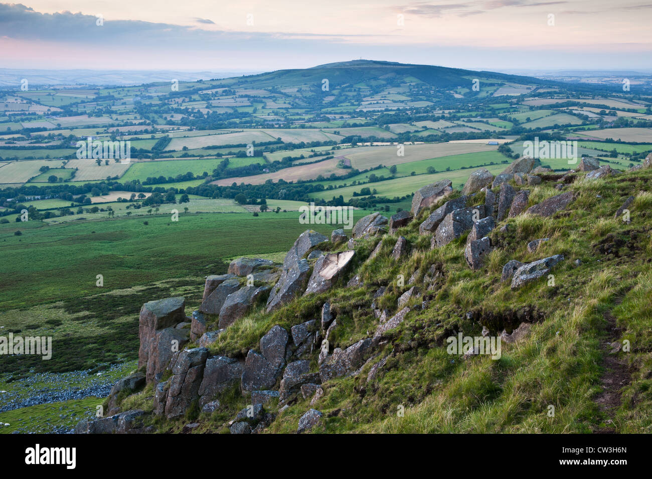 Brown Clee from Clee Hill, Shropshire - Stock Image