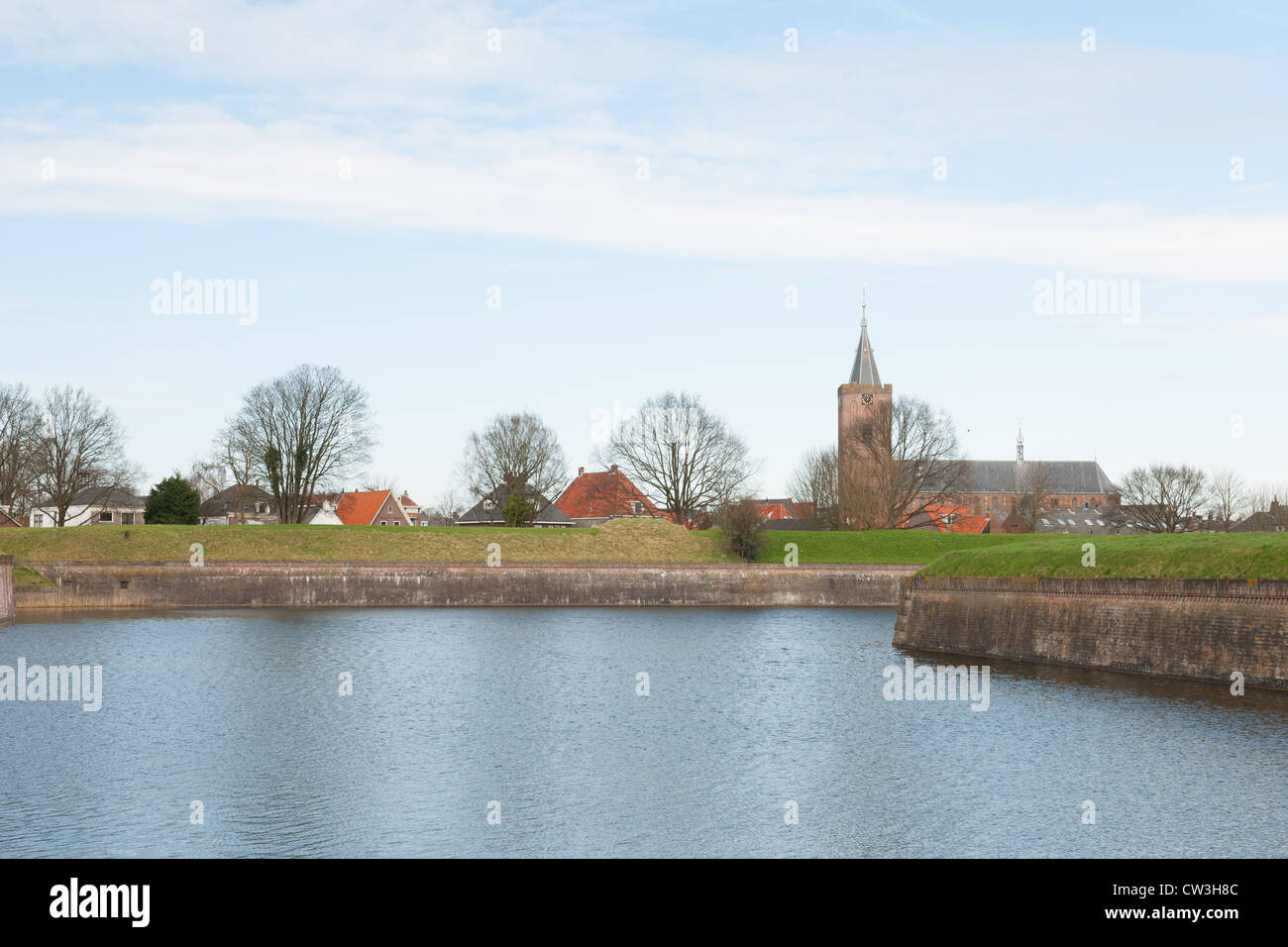 Landscape with fortress Naarden and village - Stock Image