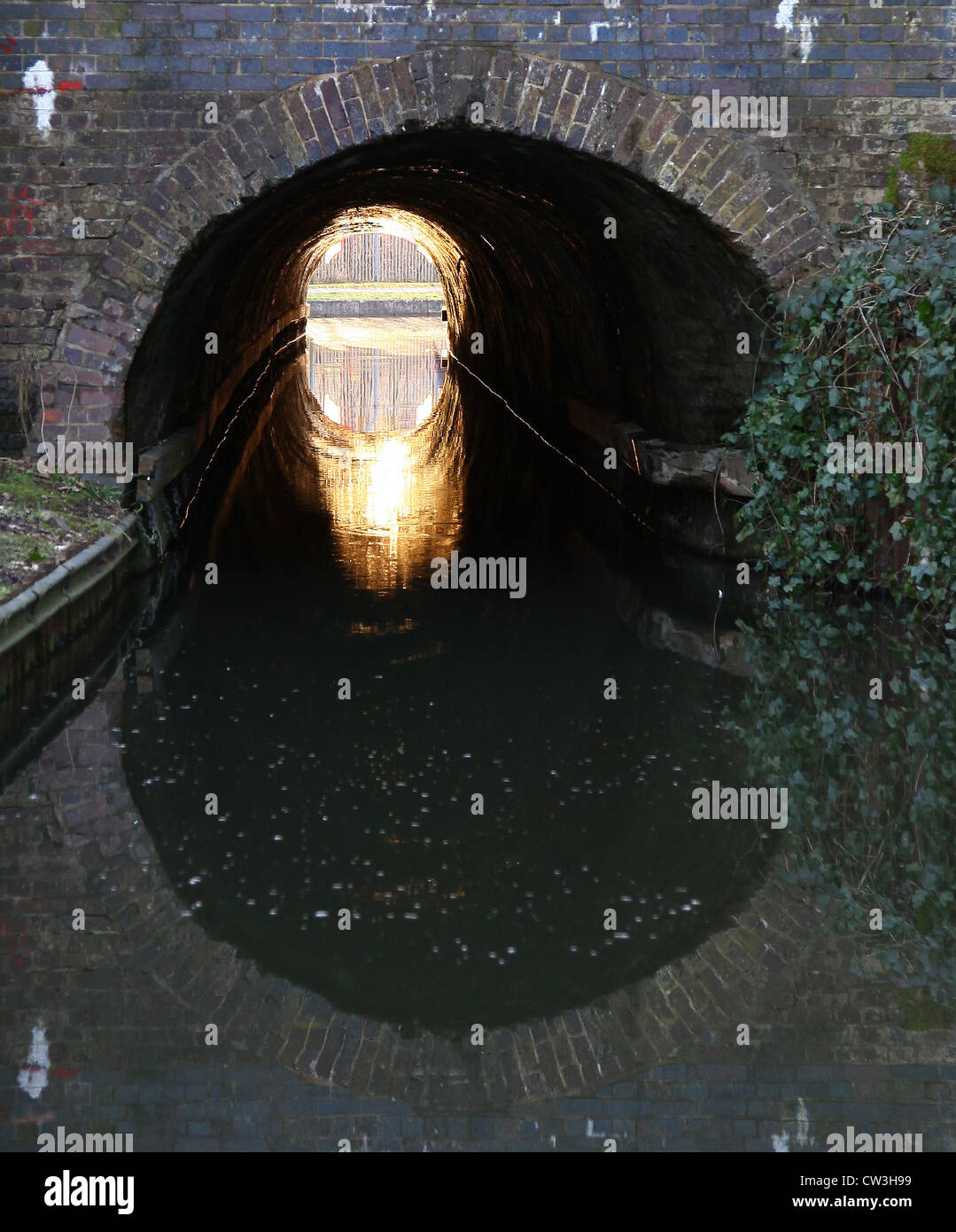 Light at the end of the tunnel on the Caldon Canal Froghall near to Stoke-on-Trent Staffordshire - Stock Image