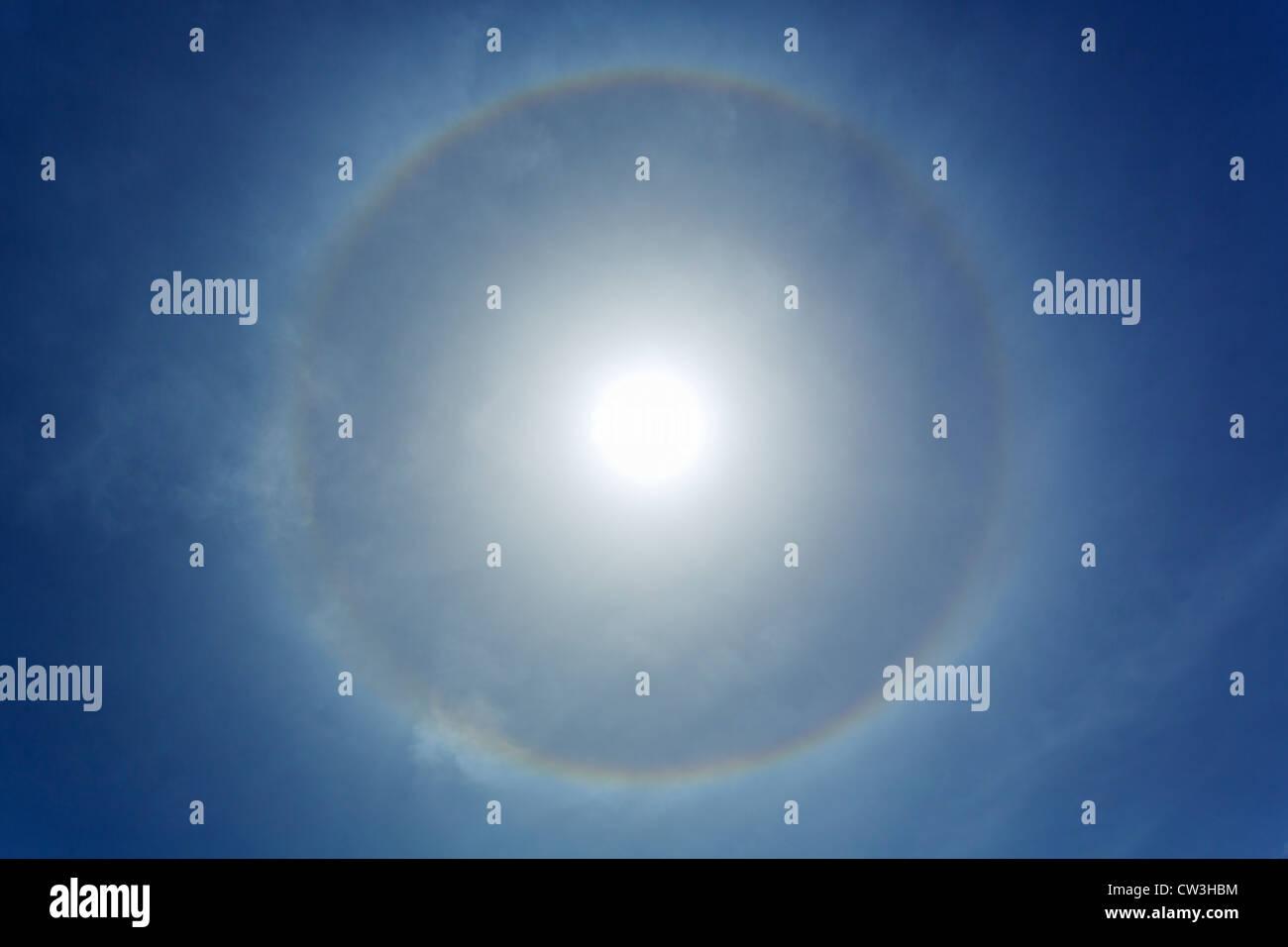 Sun dog a halo around the sun - Stock Image
