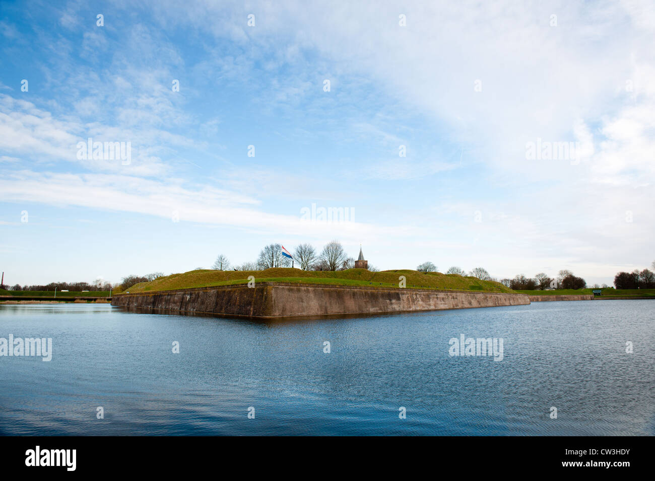 Dutch fortress in water surrounded Naarden Vesting - Stock Image