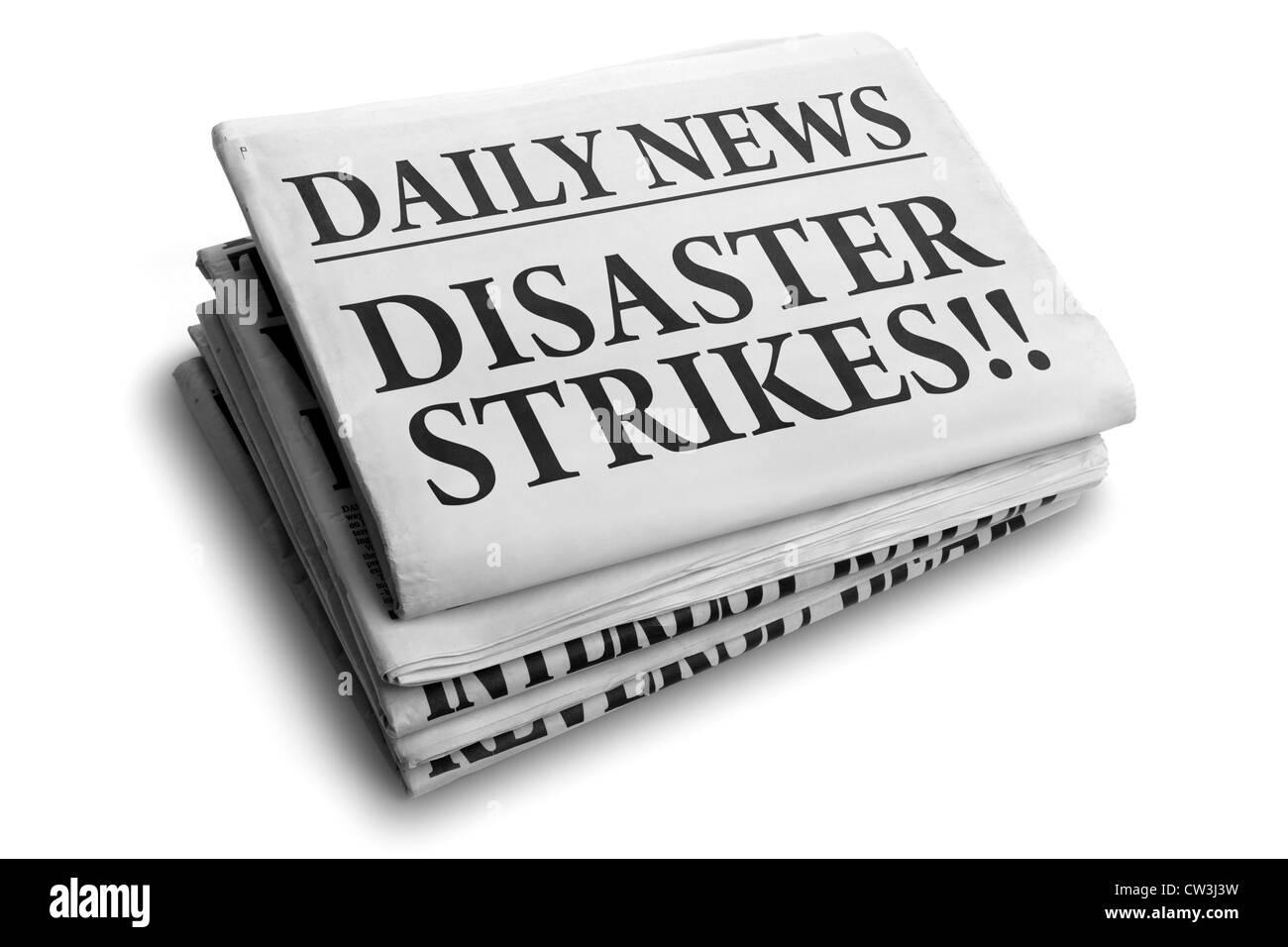 Disaster strikes daily newspaper headline - Stock Image