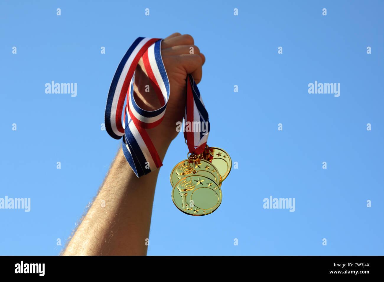 Gold medal winner - Stock Image