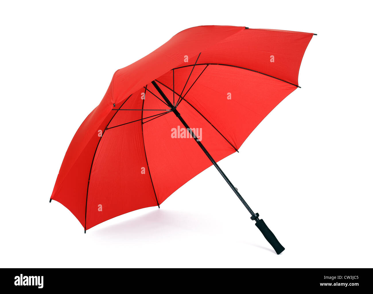 Red umbrella isolated - Stock Image