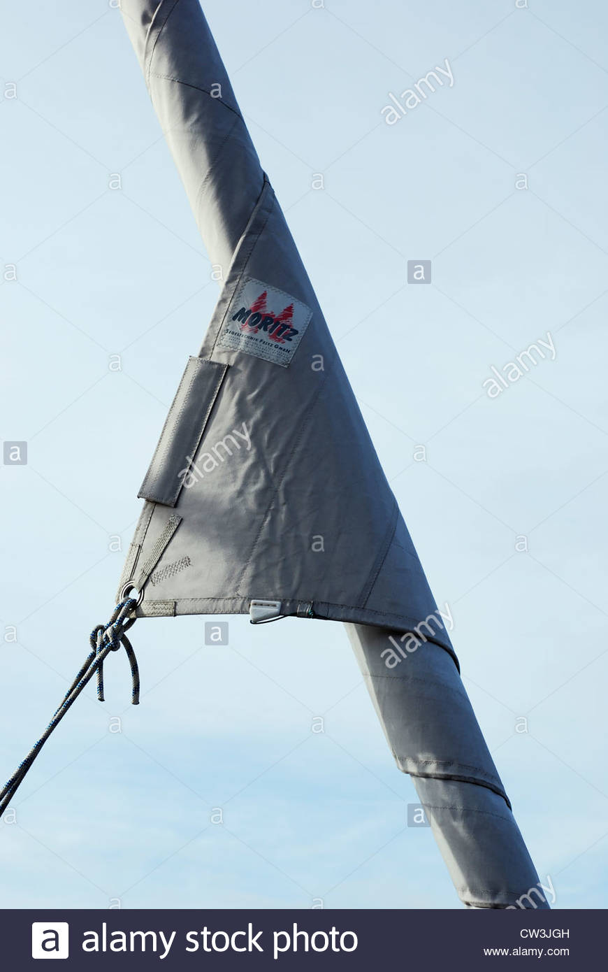 Furled sail made by Moritz, Poole Quayside, Poole, Dorset, England - Stock Image