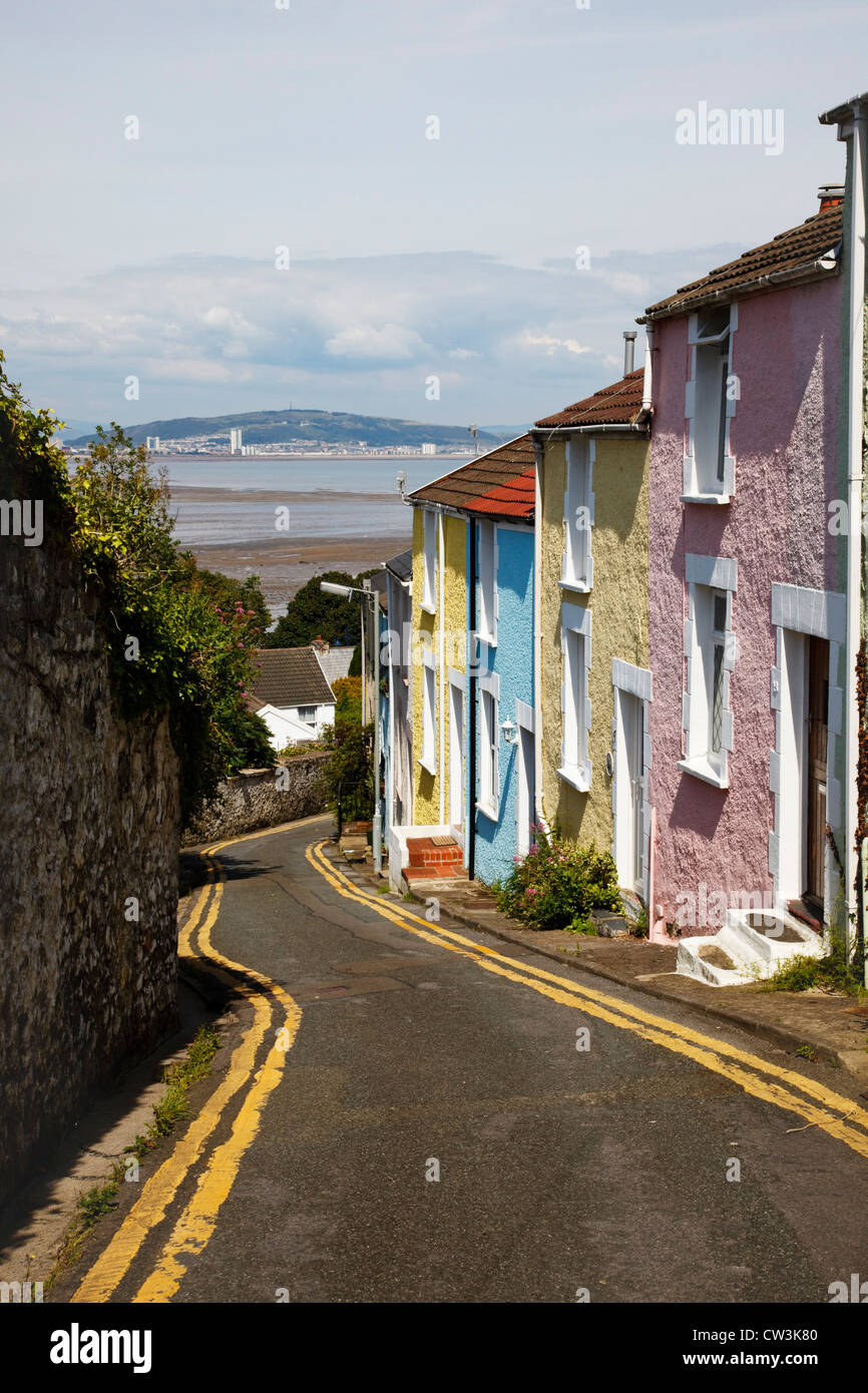 Colourful houses above the Mumbles, swansea. - Stock Image