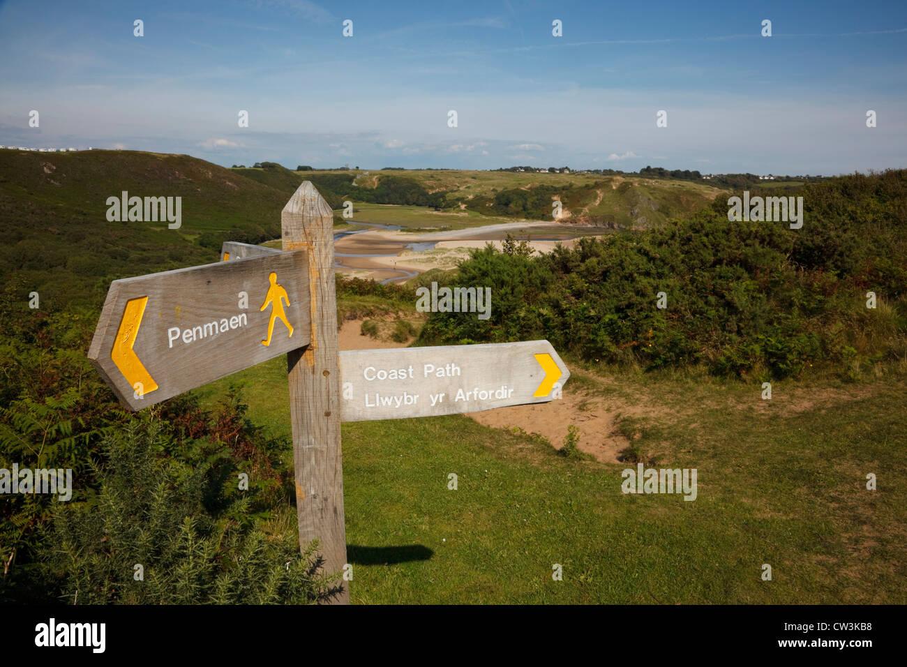 Wales Coast Path signpost at Three Cliffs Bay, gower Peninsula, Wales. - Stock Image