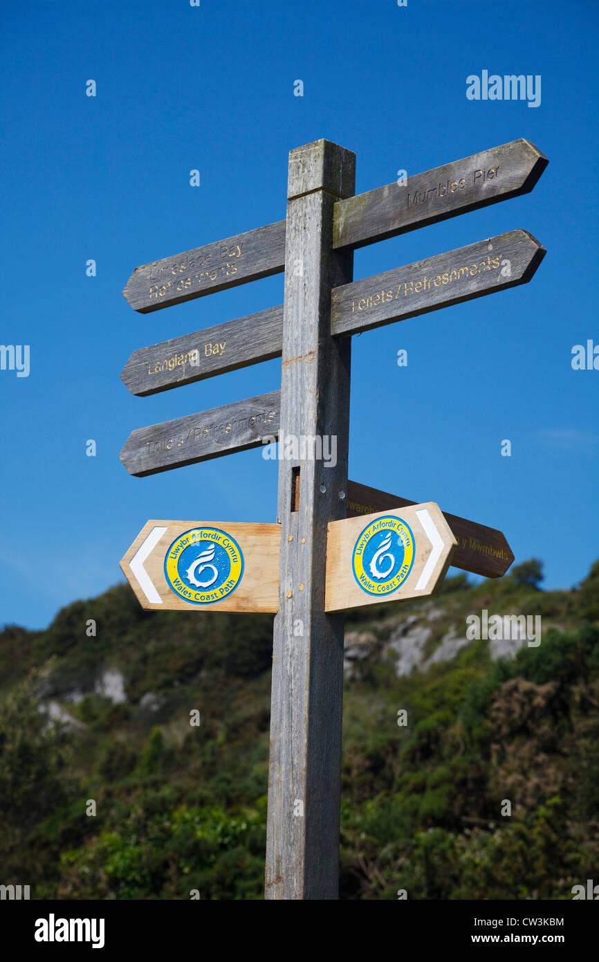 Wales Coast Path signpost at Bracelet Bay, Mumbles, Wales. - Stock Image
