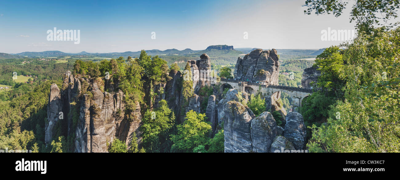 Rock formation Bastei (Bastion) and Table Mountain Lilienstein, Lohmen, Saxon Switzerland near Dresden, Saxony, - Stock Image