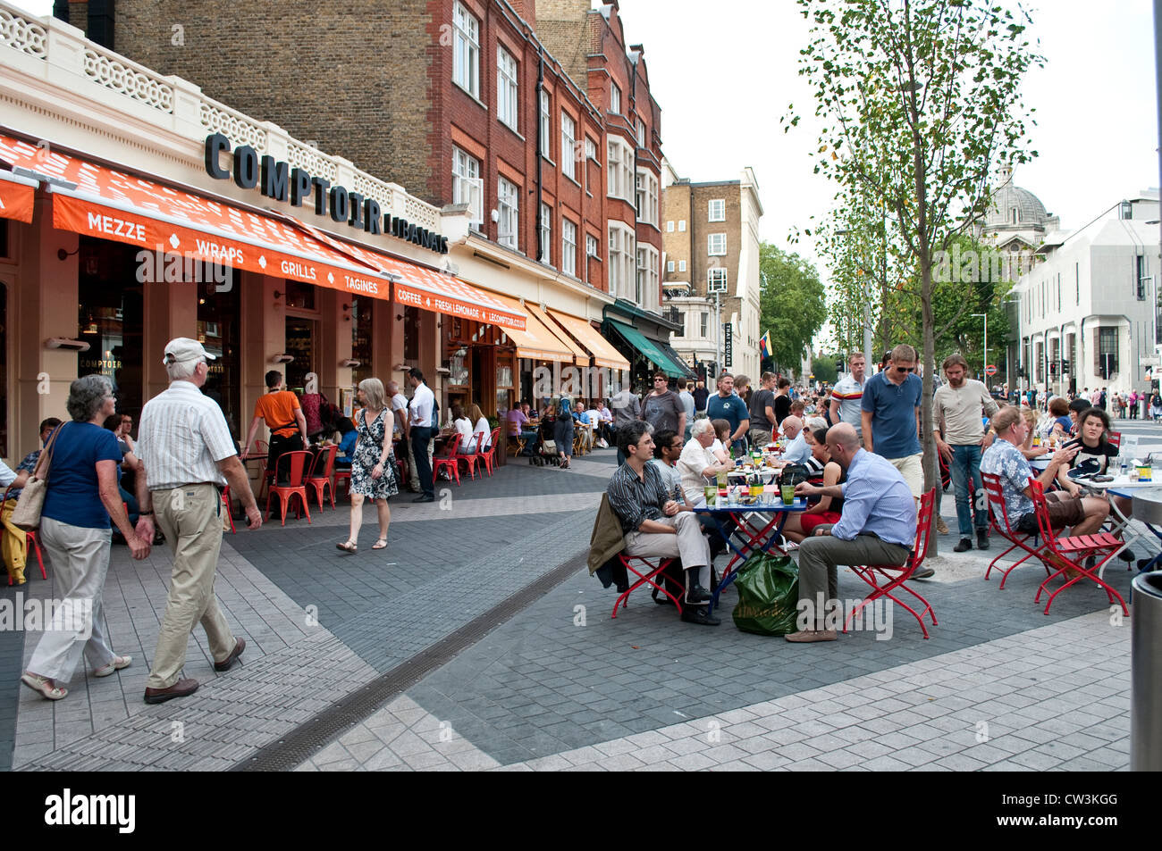 Pedestrianised part of exhibition road with outdoor cafes and restaurants south kensington london