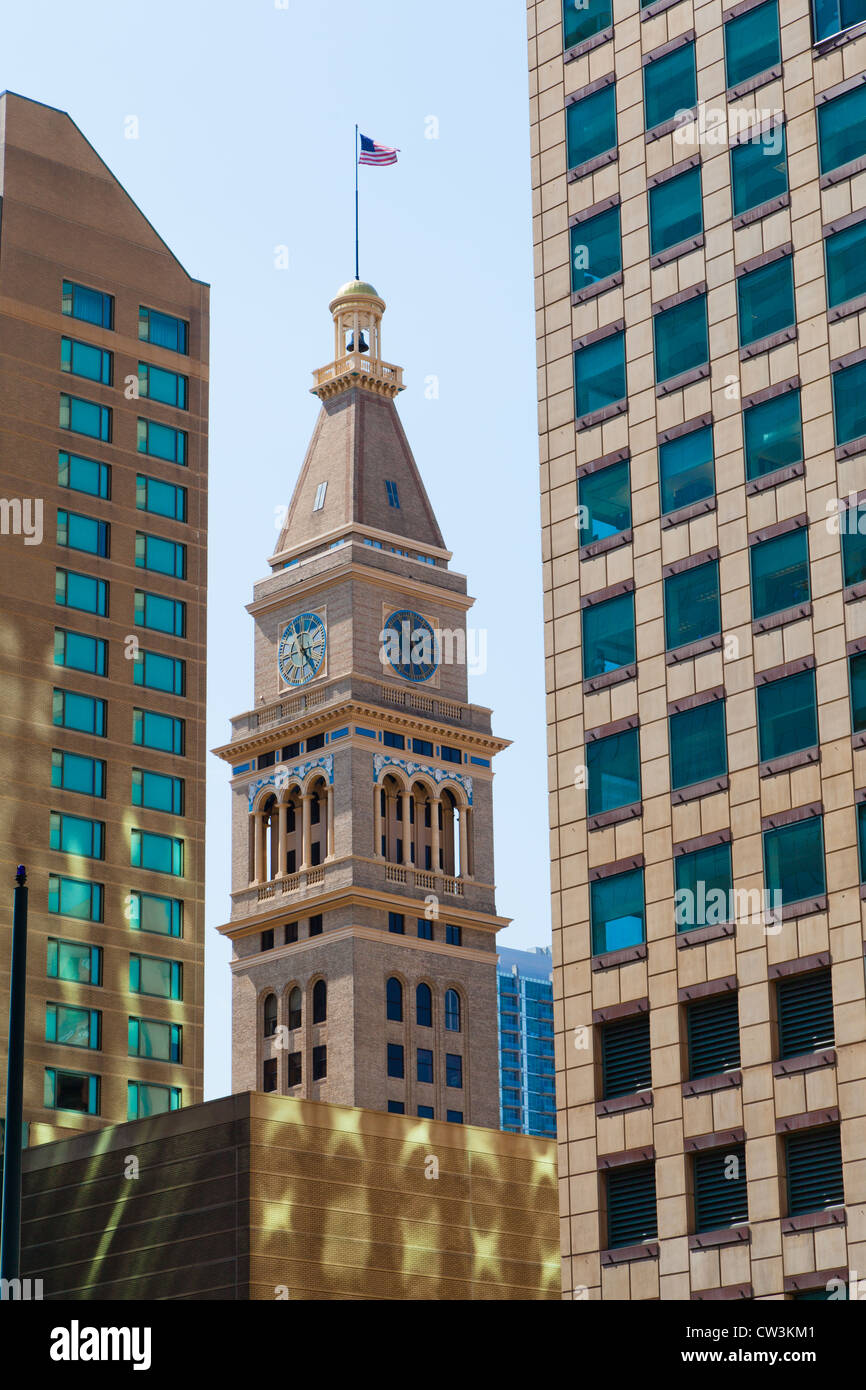 The Daniels and Fisher tower on the 16th Street Mall in Denver, Colorado as seen between two office buildings - Stock Image