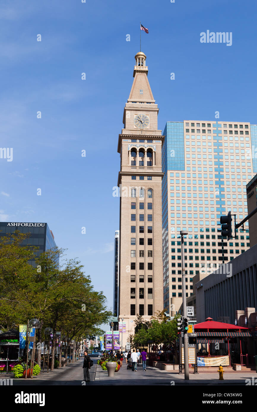 The Daniels and Fisher tower on the 16th Street Mall in Denver, Colorado - Stock Image