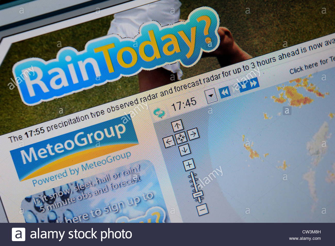 Raintoday? website gives minute by minute weather forecasts for the UK. - Stock Image