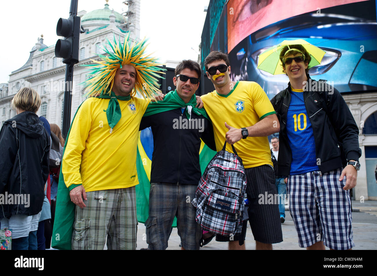 Brazilian supporters in Leicester Square Olympics London 2012 - Stock Image