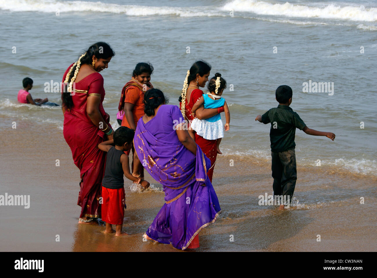 Tamil Indian Family Womens Enjoying Vacation with Children in Marina