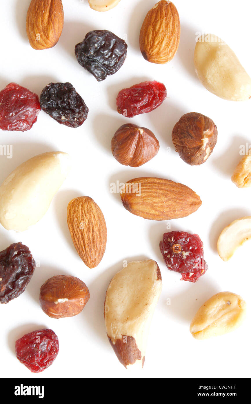 Fruits and nuts mixed in a healhty way - Stock Image