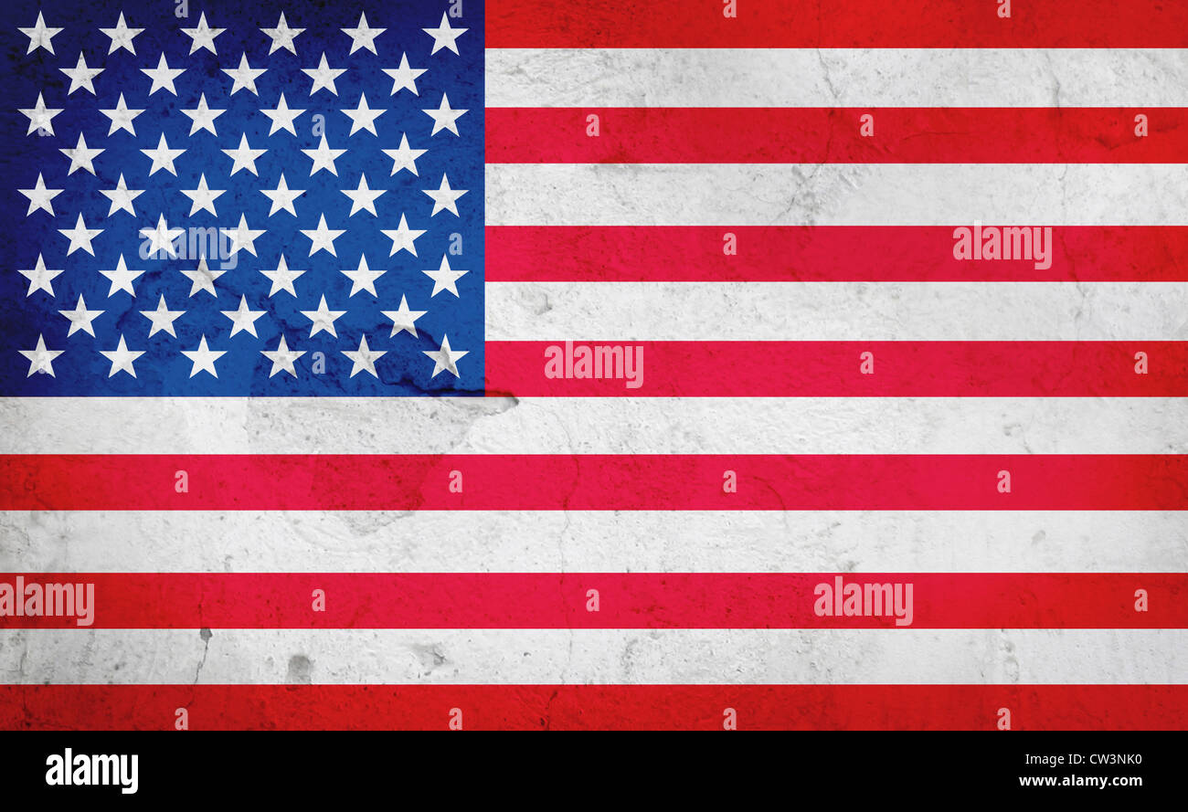 American flag on a worn background - Stock Image