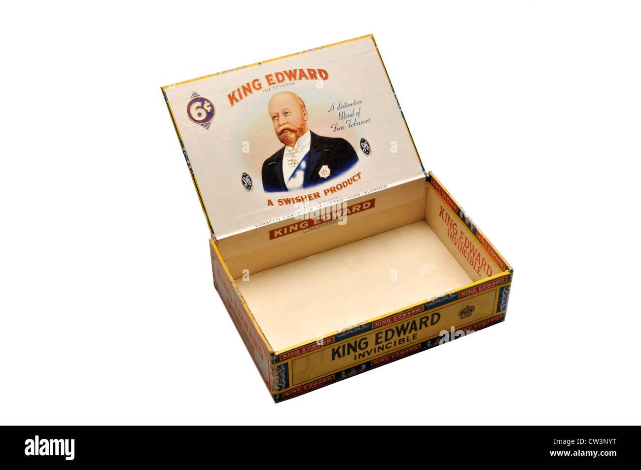 King Edward old cigar box open lid on white - Stock Image
