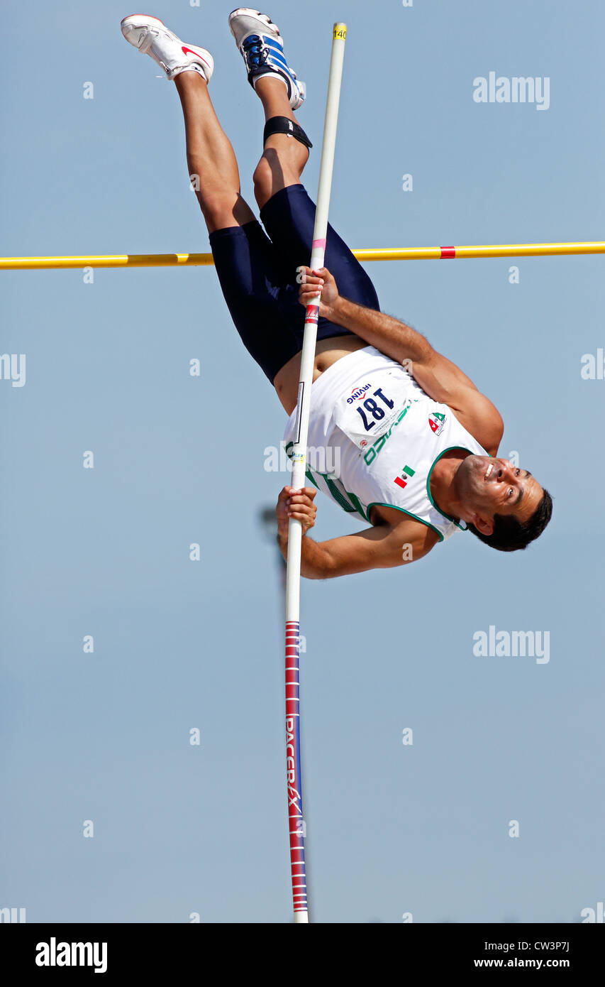 Jose Francisco Gonzalez of Mexico competes in the pole vault at the 2012 NCCWMA & CMA Track & Field Championships. - Stock Image