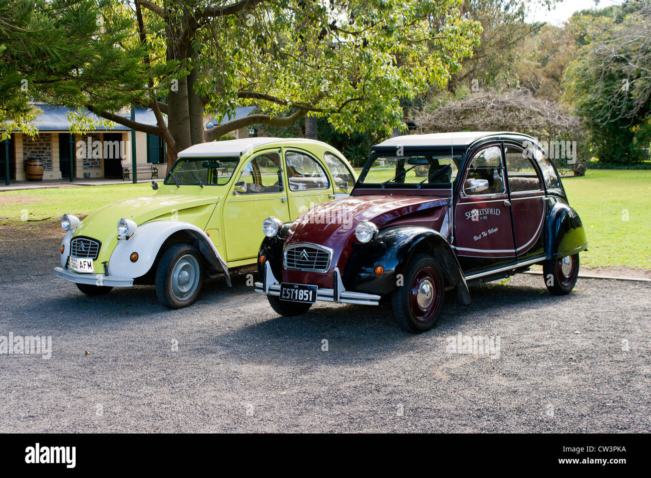Two vintage Citreon Cars at Seppeltsfield Winery in the Barossa Valley South Australia - Stock Image