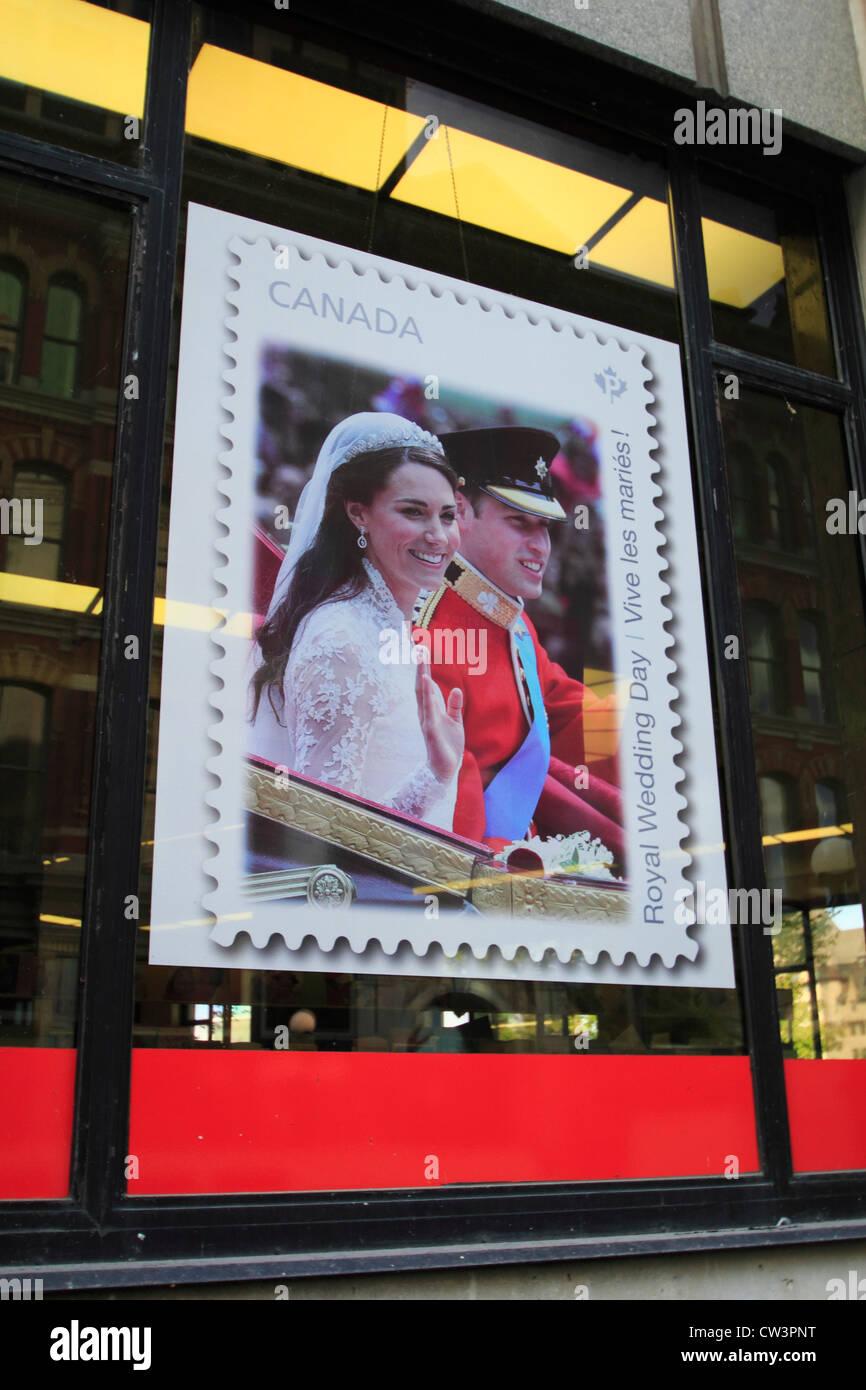 Canadian postage stamp celebrating the wedding of Prince William, Duke of Cambridge, and Catherine Middleton - Stock Image
