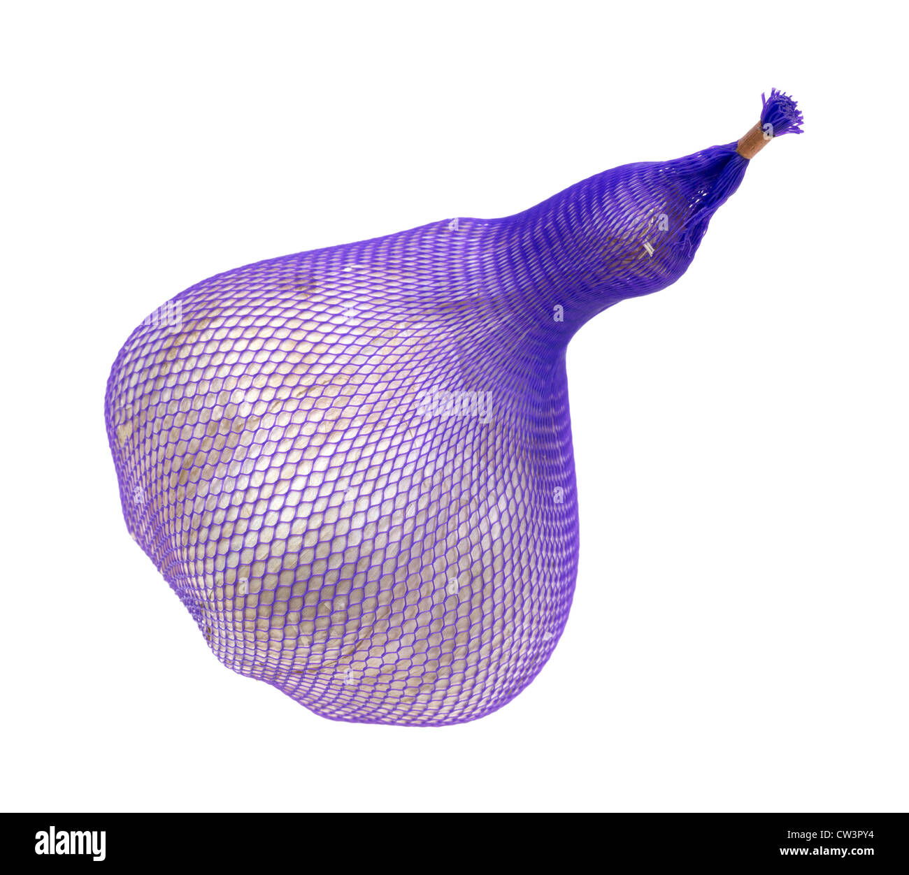 Elephant garlic in purple plastic packaging - Stock Image