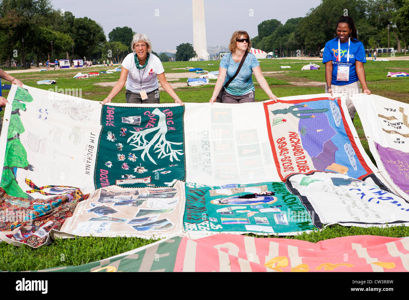 The AIDS Quilt display on the National Mall in Washington, DC.  - Stock Image