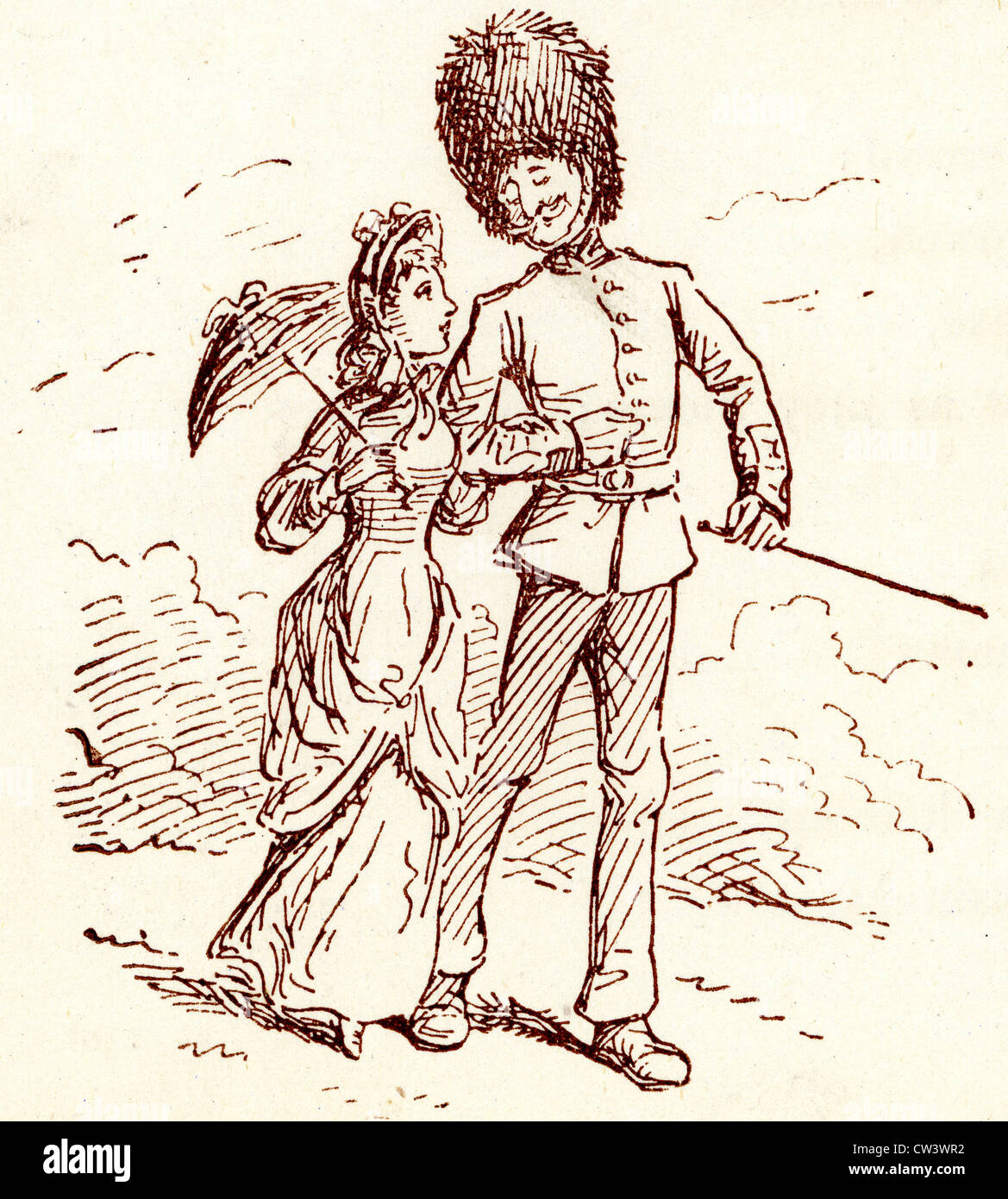 Comic Sketch by T S Seccombe showing a Guardsman out for a walk with his sweetheart Stock Photo