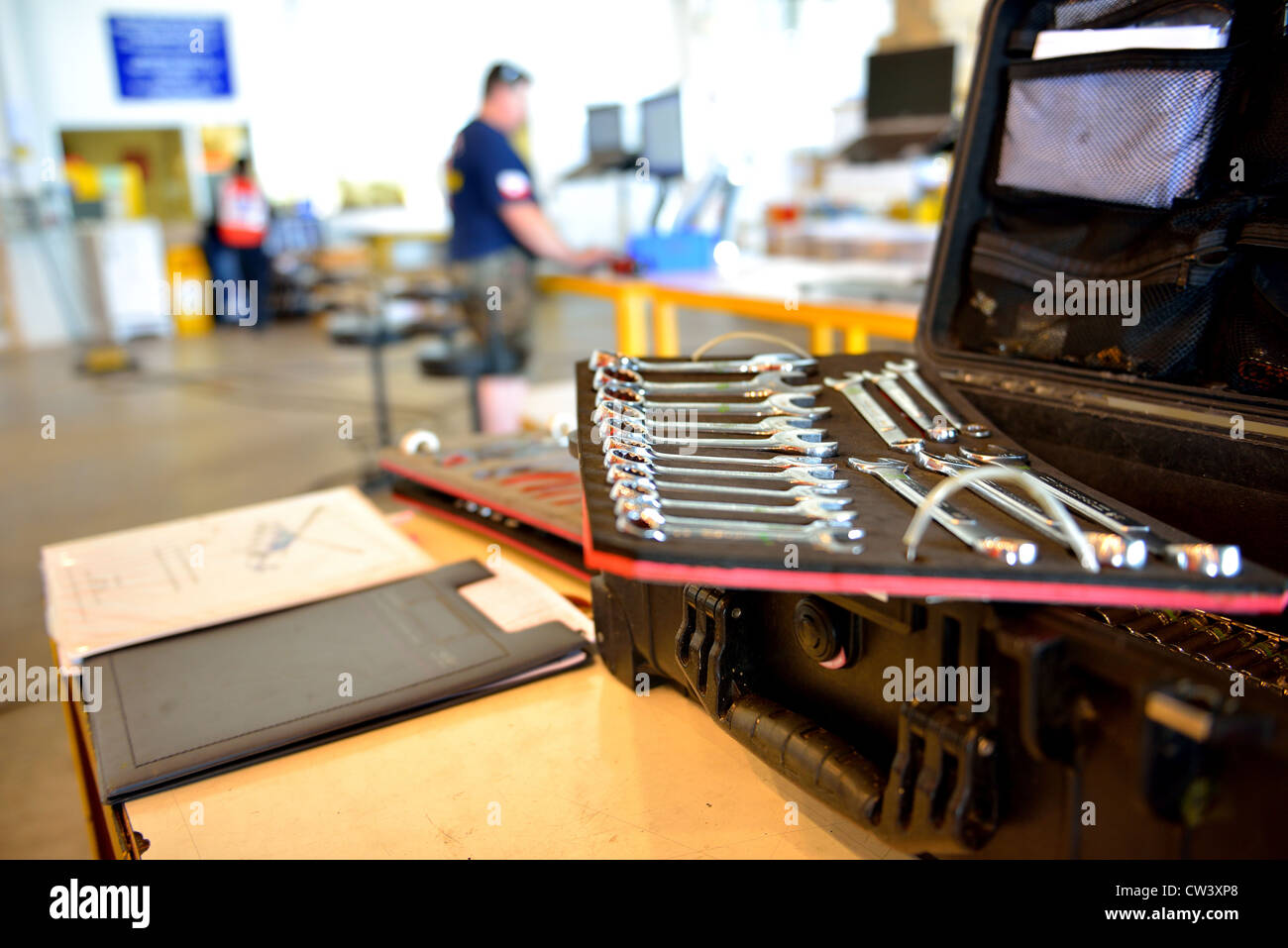 The mechanic tool box is on the table. - Stock Image