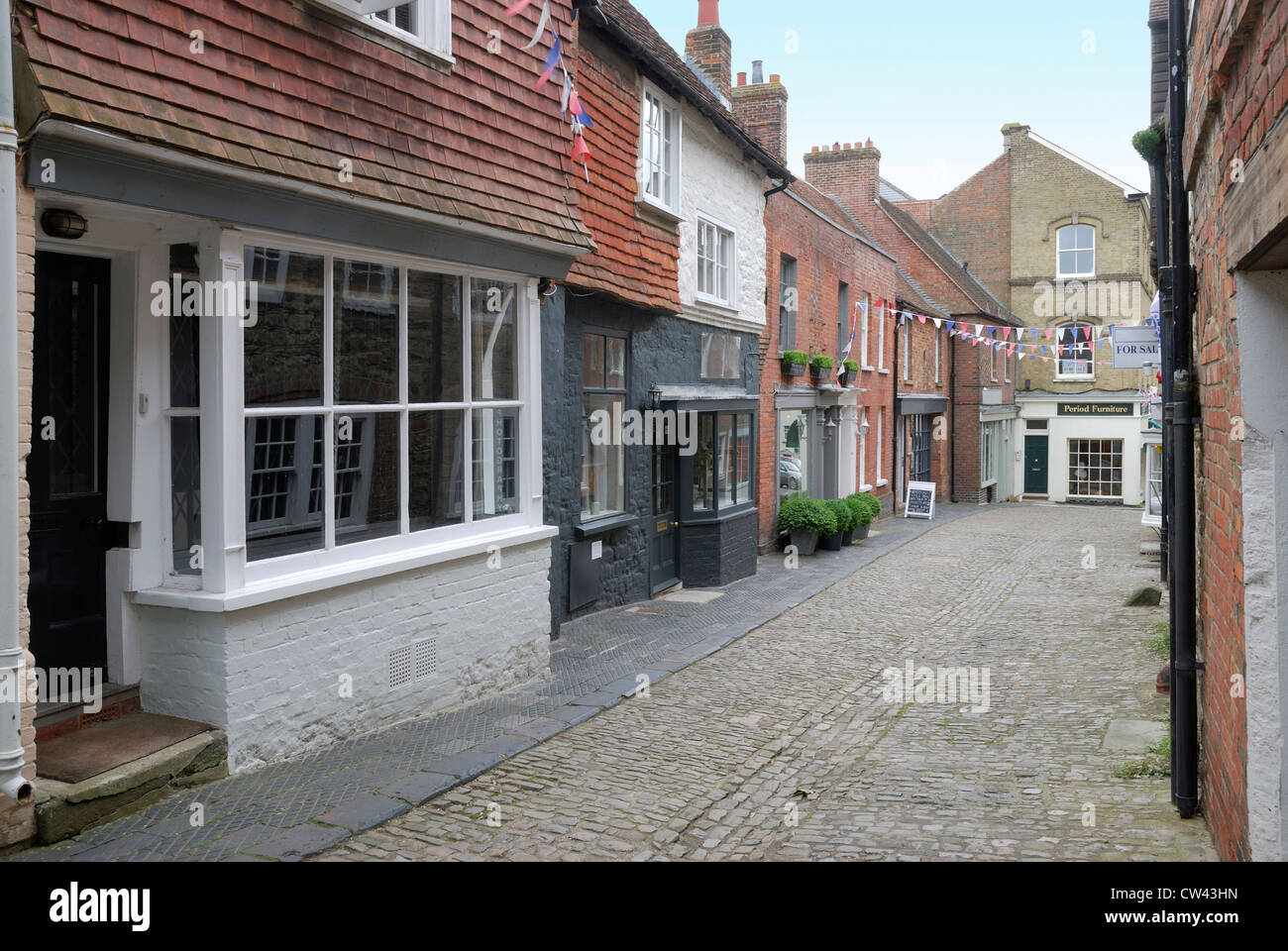 Cobbled street in Petworth. West Sussex. England - Stock Image