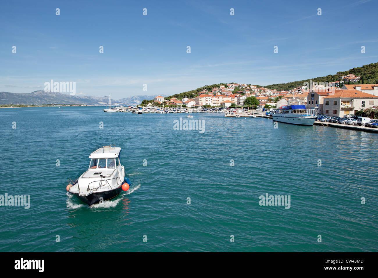 Motorboat near Trogir, Dalmatia, Croatia - Stock Image