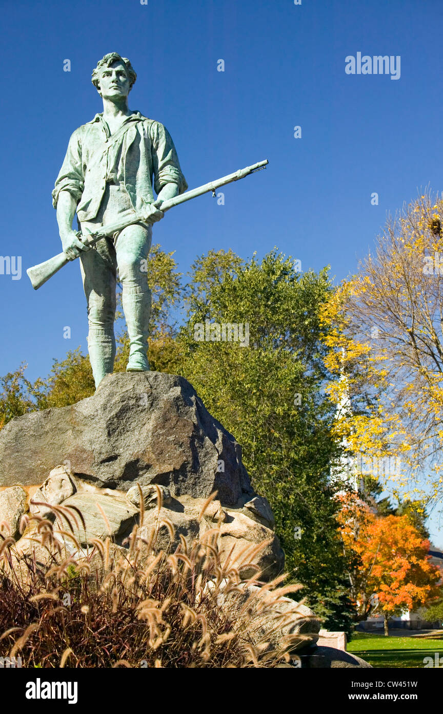 Minuteman soldier from Revolutionary War greets visitors to Historical Lexington, Massachusetts, New England Stock Photo
