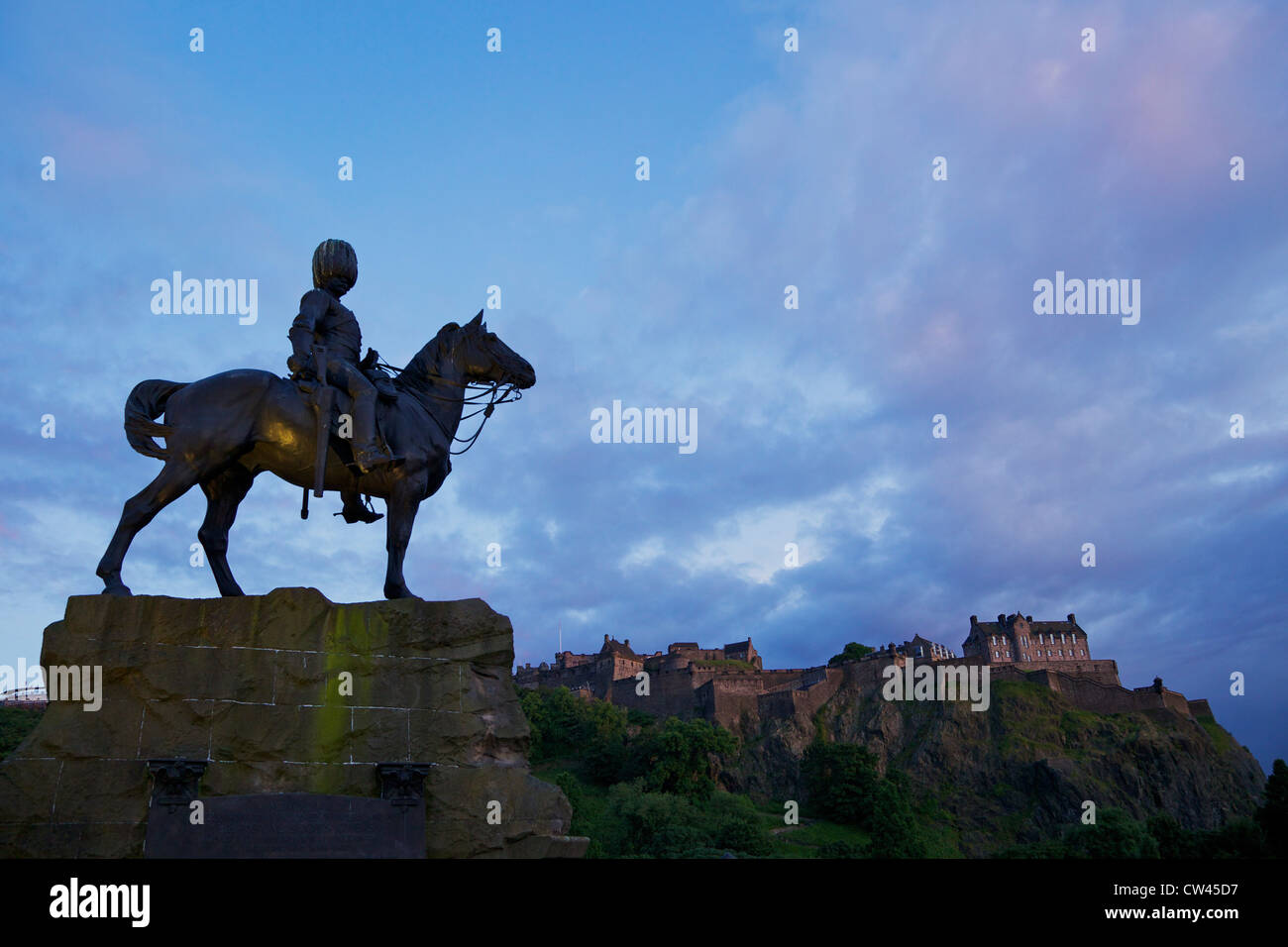 Royal Scots Greys Boer War memorial equestrian statue, in Princes Street, with the castle behind, Edinburgh, Scotland, - Stock Image