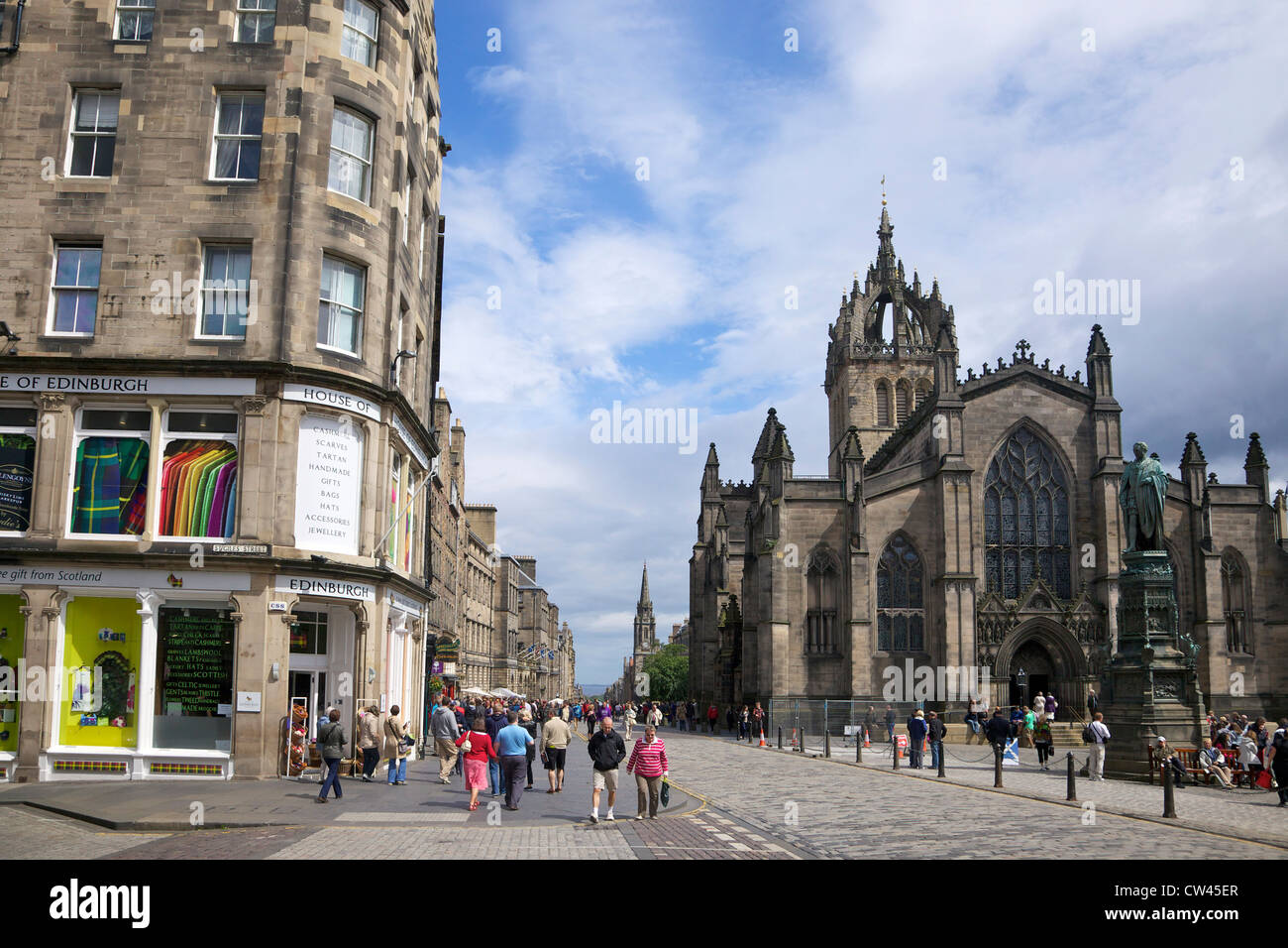 St Giles Cathedral and the Royal Mile, Old town, Edinburgh, Scotland, UK, GB, British Isles, Europe - Stock Image