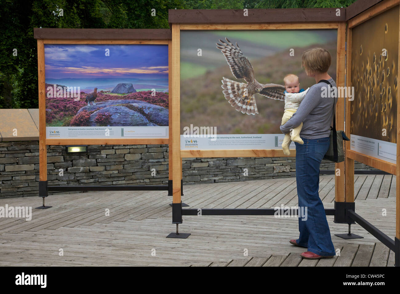 Mother and baby looking at 2020 Vision project, Royal Botanic Garden, Edinburgh, Scotland, UK, GB, British Isles, - Stock Image