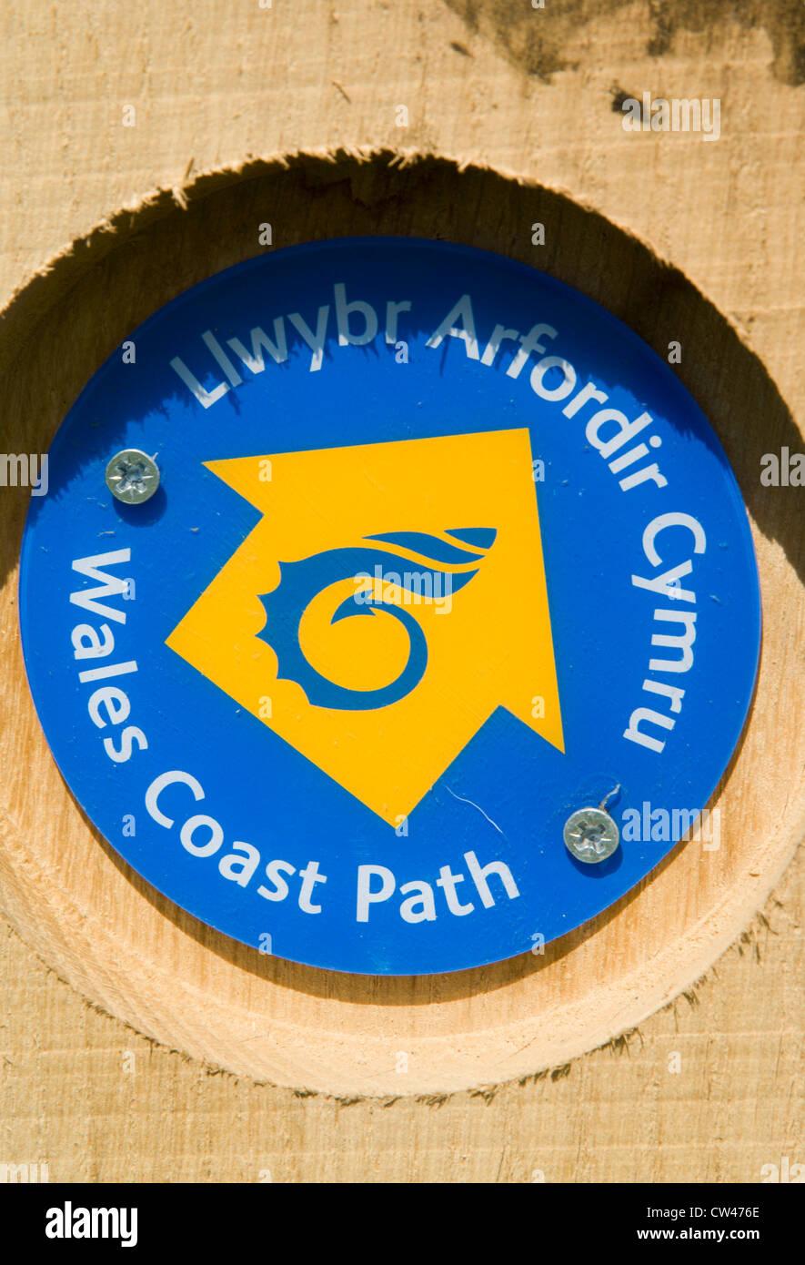 wales coastal path sign, llantwit major, glamorgan heritage coast, vale of glamorgan, wales. - Stock Image