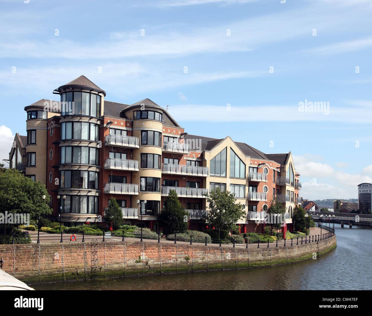 Laganside upmarket housing seen from Queen's Bridge, Belfast, Northern Ireland - Stock Image