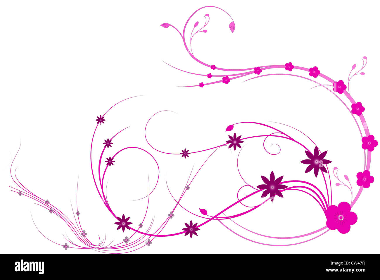 Beautiful illustrated flower background design with space for your text Stock Photo