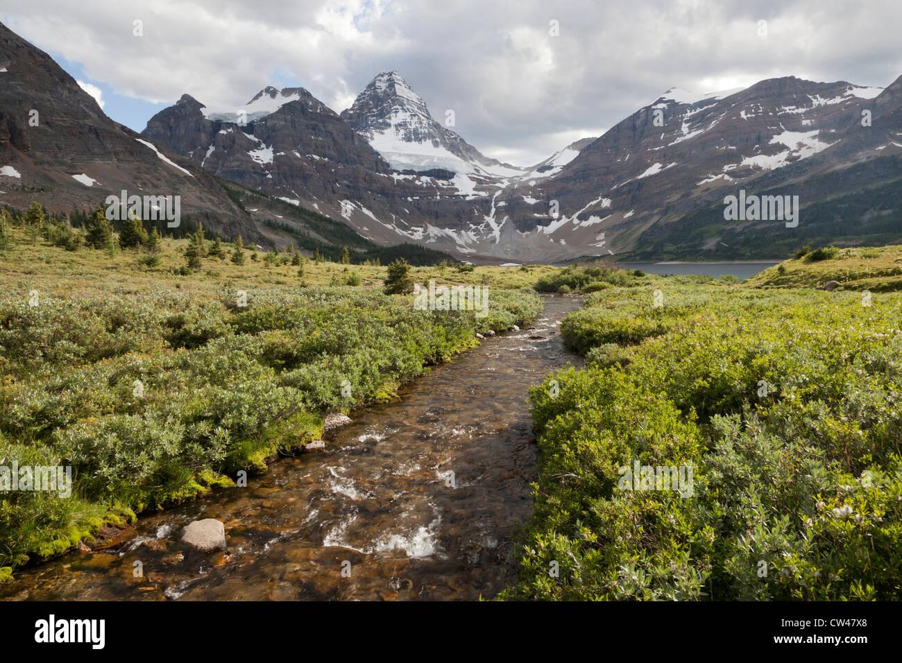 Canada, Mount Assiniboine Provincial Park, Mt. Assiniboine, Magog Creek and Lake, Mt. Magog and Mt. Strom Stock Photo
