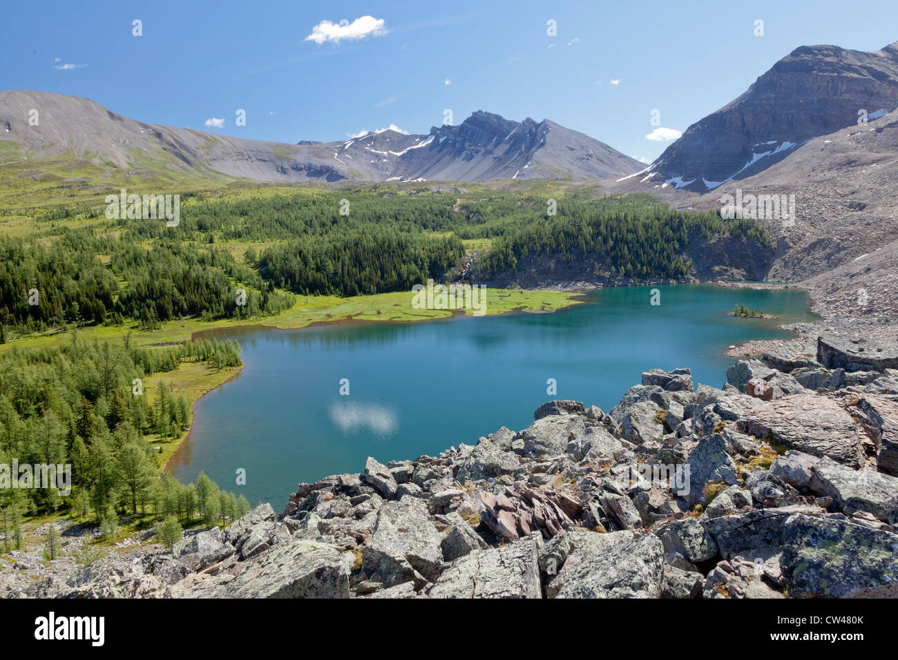 Canada, Mount Assiniboine Provincial Park, Lake Gog from Naiset Point Stock Photo
