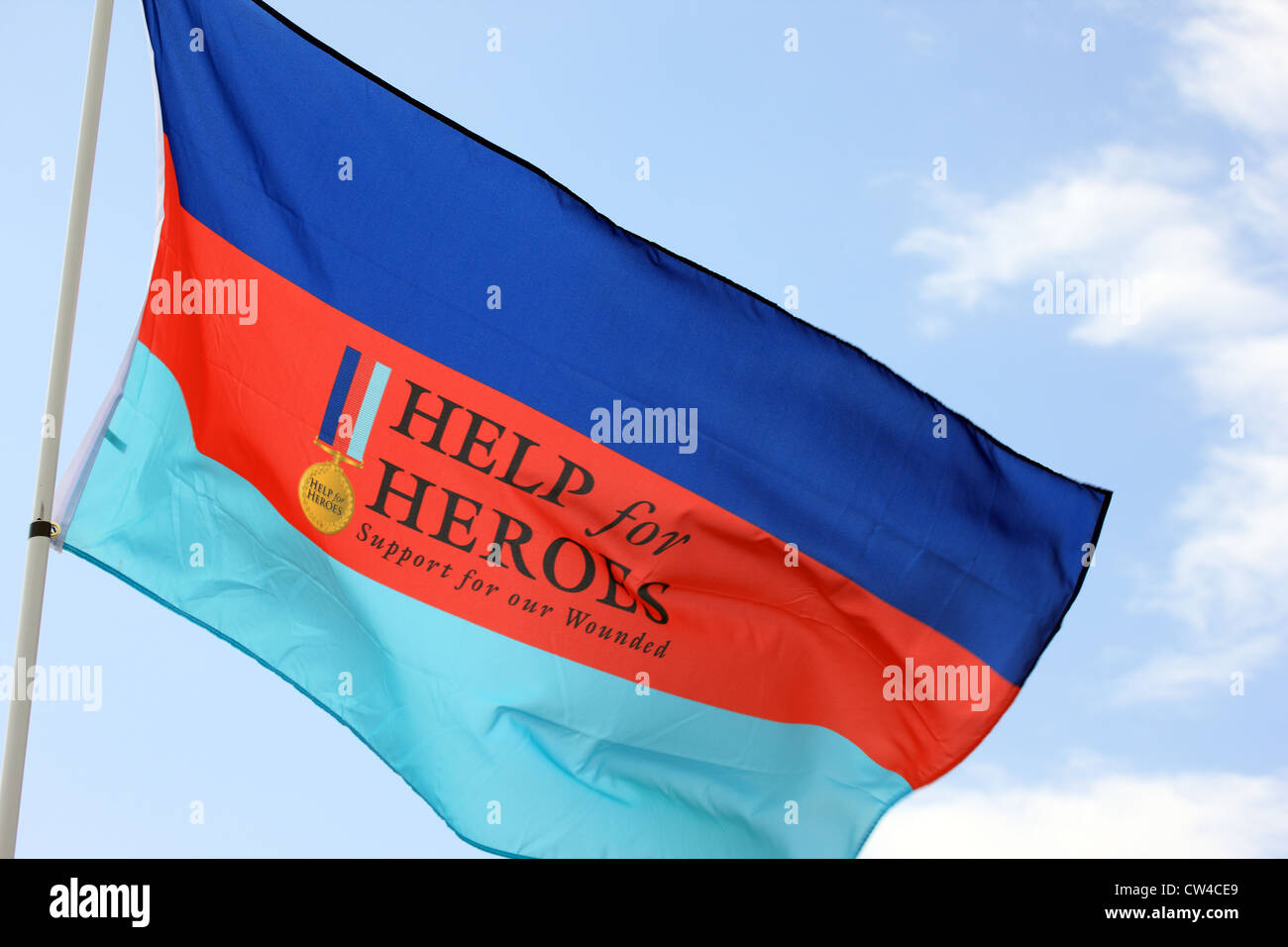 Help for Heroes flag fluttering in the breeze - Stock Image