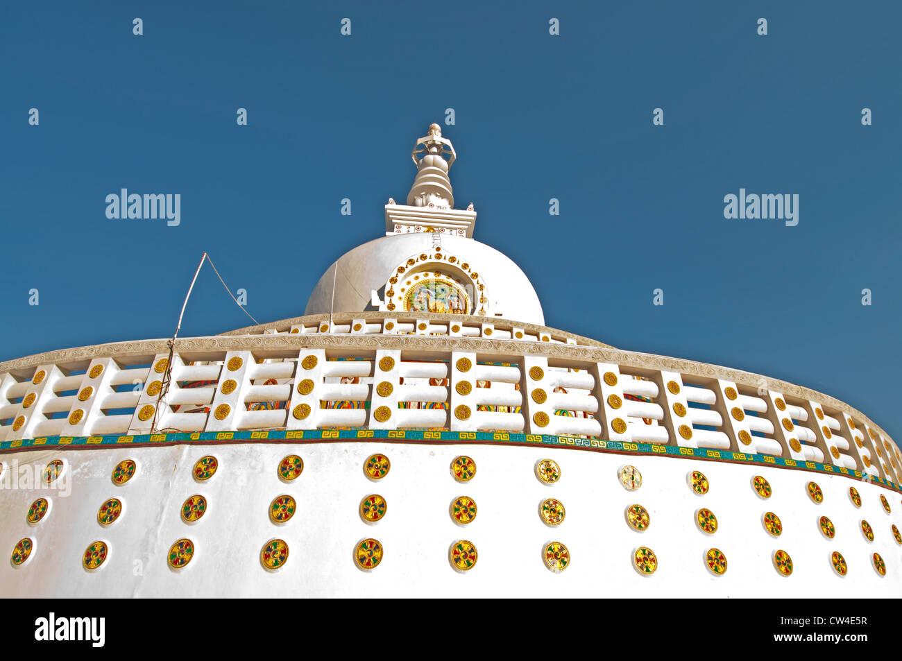 Shanti Stupa, a Buddhist white-domed stupa, or chorton, on a hilltop in Chanspa, Leh, Ladakh, India Stock Photo