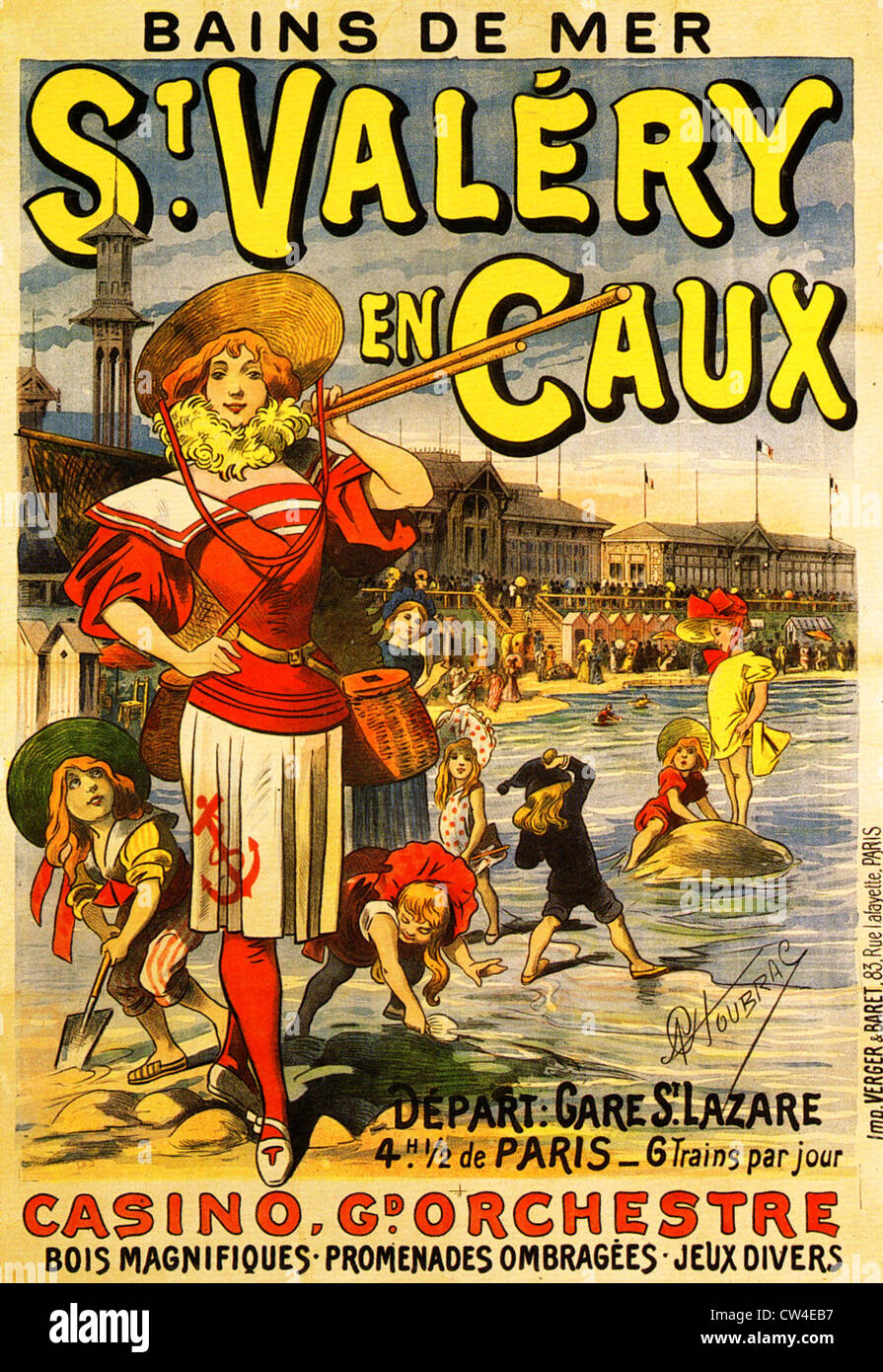FRENCH BATHING RESORT at St. Valery en Caux on a poster about 1895 - Stock Image